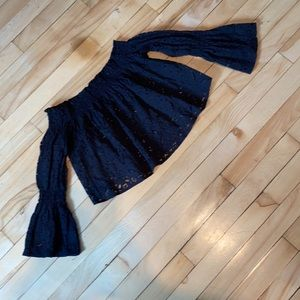 Lace Boho Crop Top w/ Bell Sleeves EUC!!!